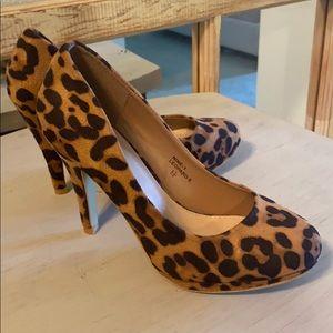 Leopard Suede Pumps - Brand New